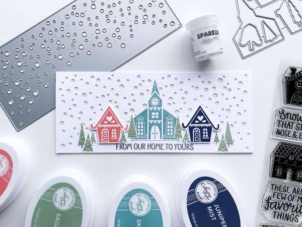 Alpine Village Stamp Set with houses slimline card