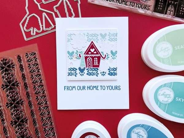 folk style art card with little house