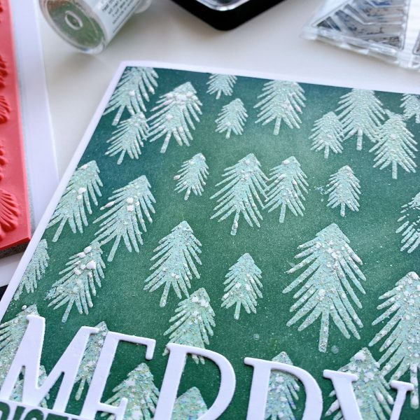 snowy trees with embossing glitter