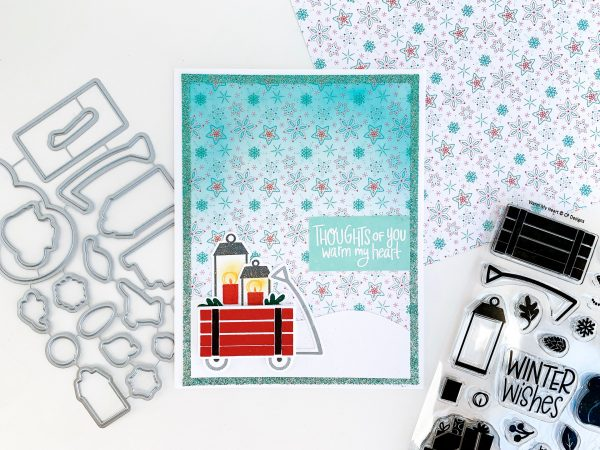 winter card with wagon