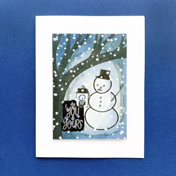 snowman at night ink blended background