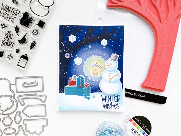 ink blended night sky with snowman