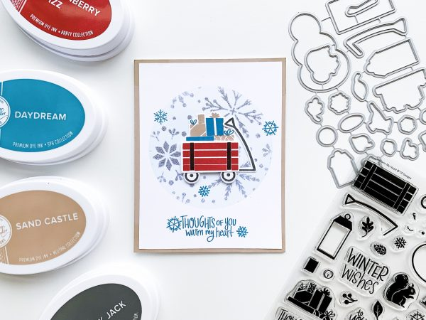 presents in wagon on ink blended background