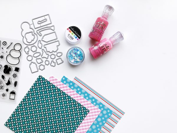 patterned paper nuvo drops and sequins