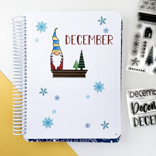 December Canvo header page with gnome stamp