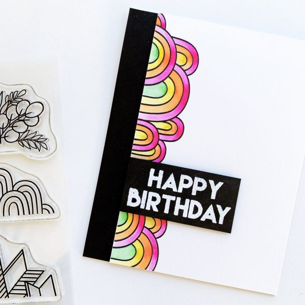 card with Classy Trims stamp set and rainbow coloring