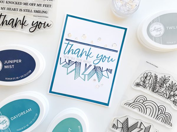 elegant thank you card in blue color scheme