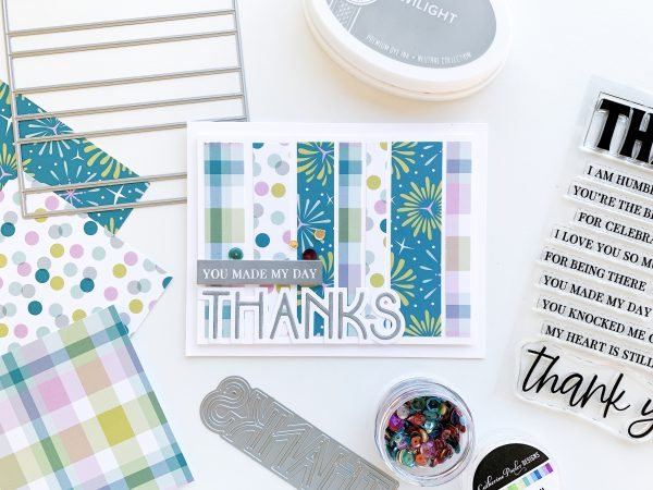 Thank you card featuring Pop the bubbly Patterned Paper