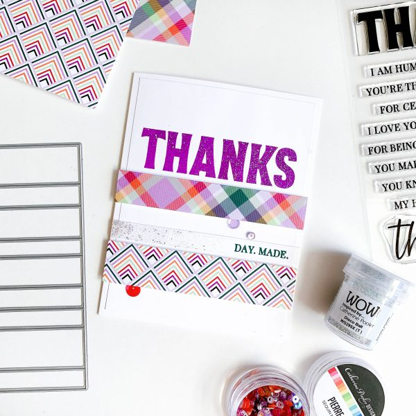 card featuring sincere thanks stamp set