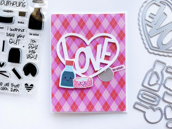 card with argyle paper and Love in Heart Die and sushi
