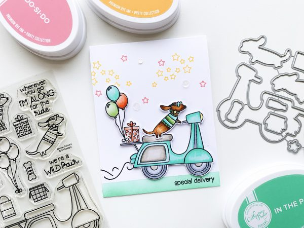 dog on vespa hand stamped card with sentiment special delivery