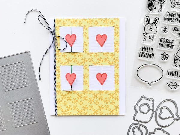 four window card featuring preppy prints yellow patterned paper