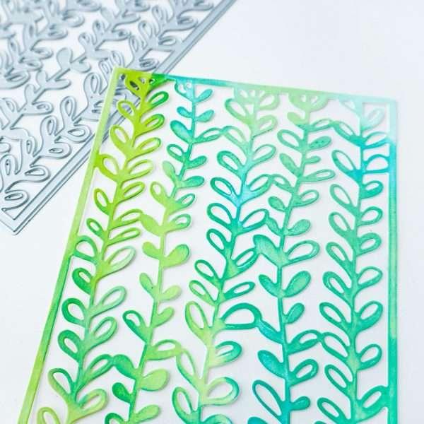 die cute paper of seaweed pattern with green inks blended