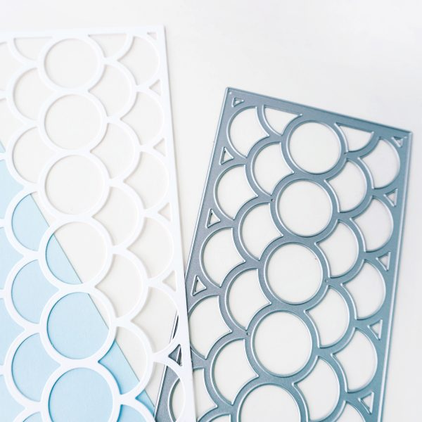a fish scale patterned slimline cover plate and die cut
