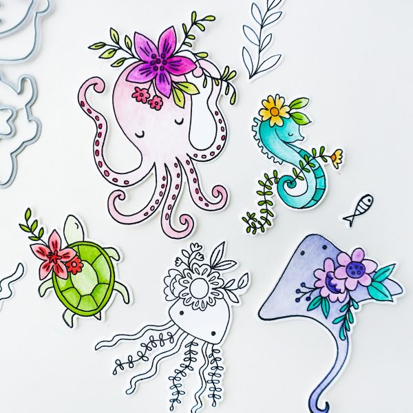 stamped images of sea creatures
