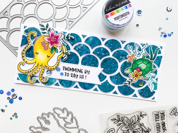 slimline sized card with stamped octopus image and sea turtle