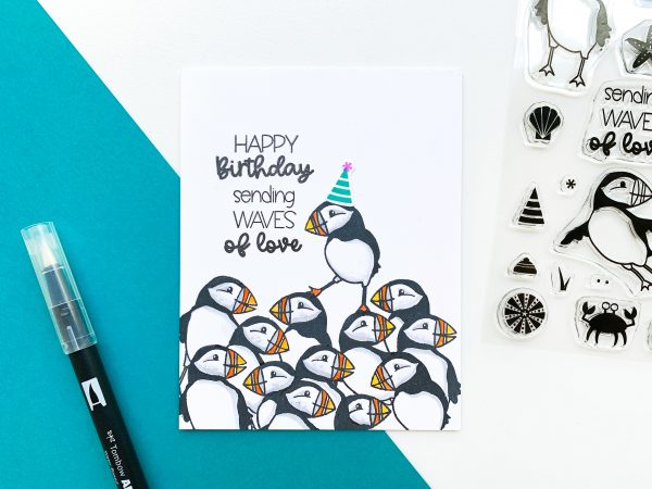 birthday card with puffins stamped