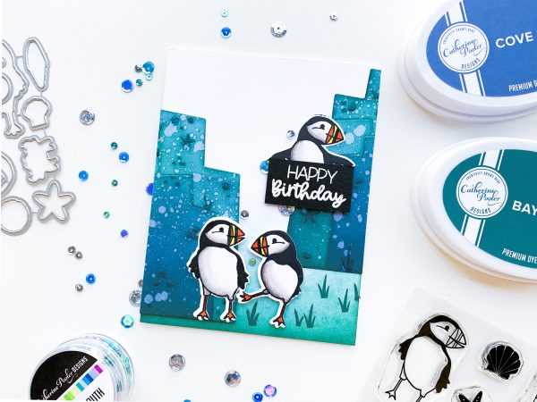 hand stamped card with puffin stamped images