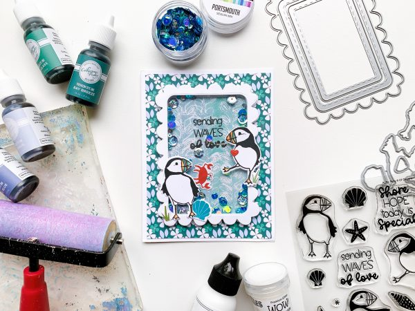 shaker card with puffins and patterned paper