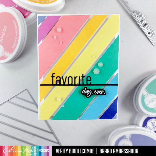 colorful card with colored strips and favorite word die