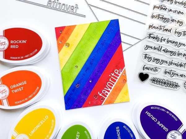 rainbow card with favorite word die