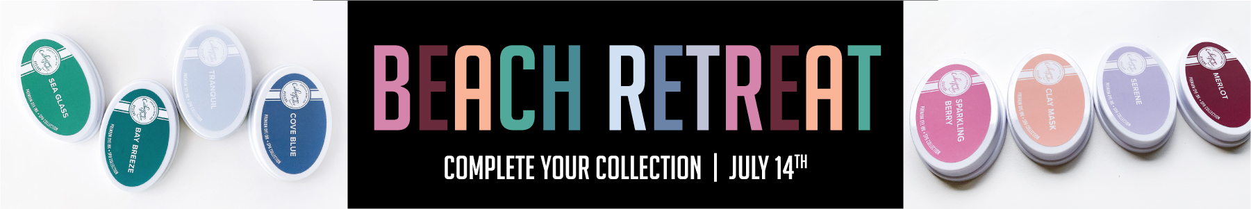 header for Beach Retreat ink collection with photo of ink colors