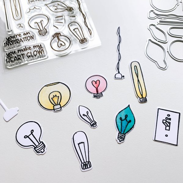 Light bulb stamp set and stamped images colored in