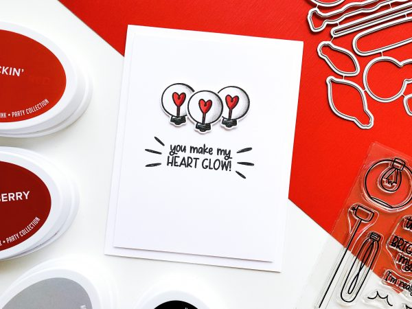 hand stamped card with light bulb images