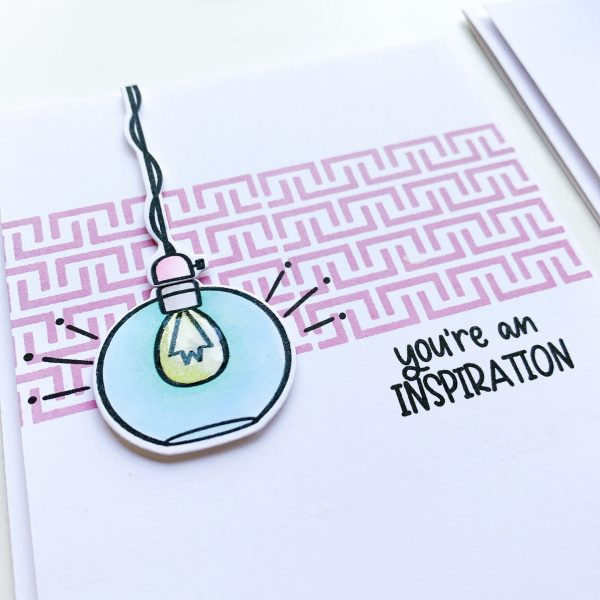 close up of hand made card with light bulb image