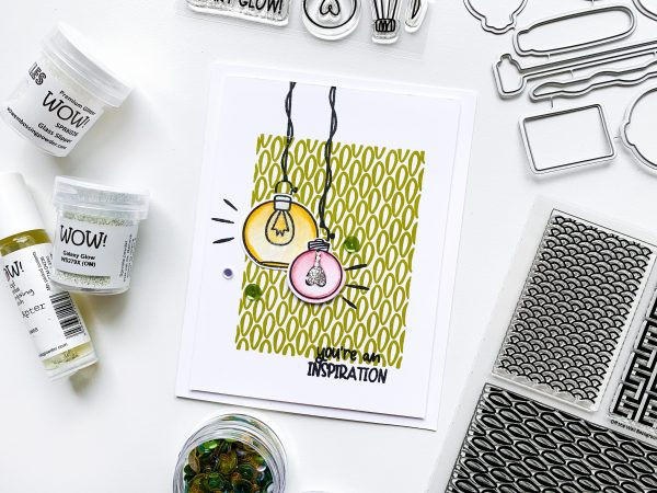 Light bulb image stamps on card
