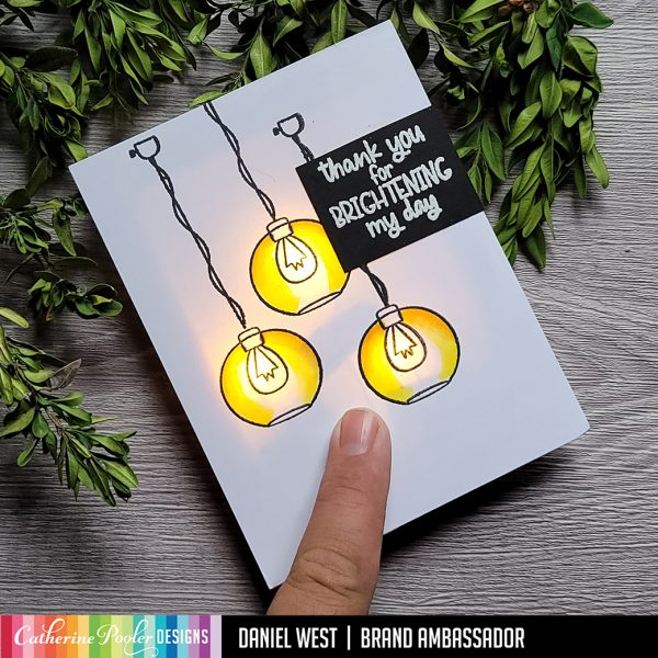 hand stamped card with light bulbs and light up feature