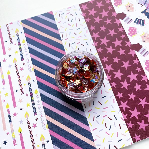 patterned paper and sequins