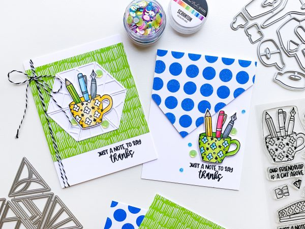 two cards made with patterned paper and stamped images of mug of pens and pencil