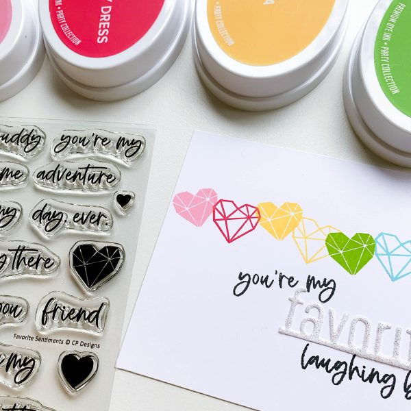 sentiment stamp set and ink pads