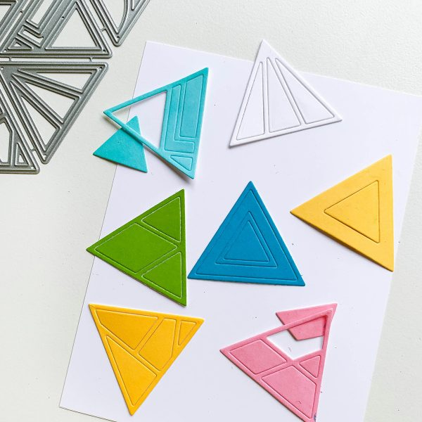 patterned triangle die cut images in various bright colors