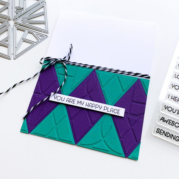 handmade card with pieced triangle die cut pattern