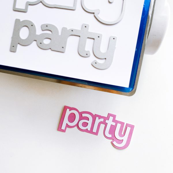 party word die and cut out image