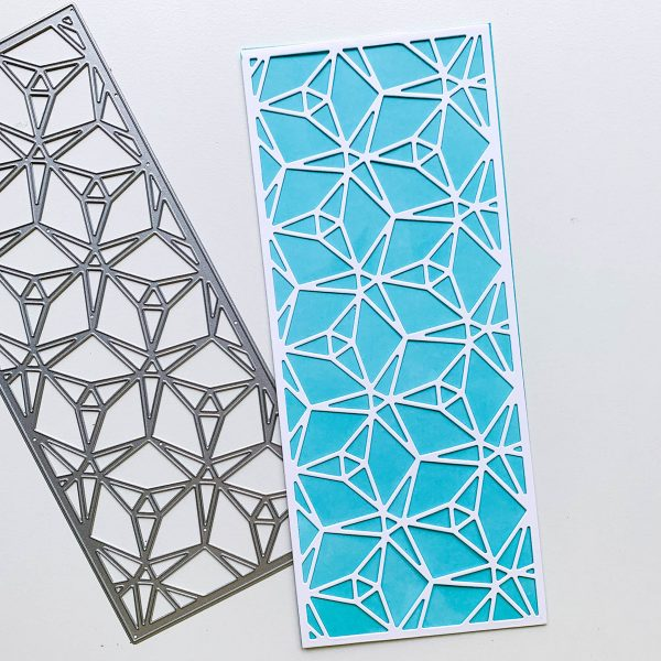 slimline cover plate die with triangular faceted pattern