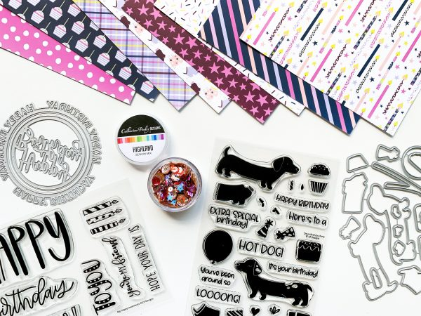 stamps, dies and patterned paper with dog and birthday theme