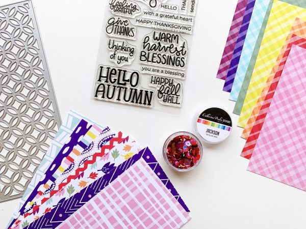 plaid and patterned papers and stamp set